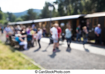 Trainstation - out of focus shot of passengers at a...