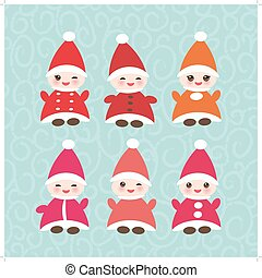 Happy New Year card, set Funny gnomes in red hats on blue...