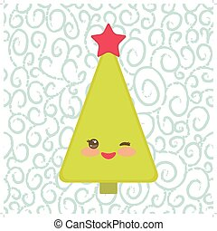 Happy New Year card. Funny green Christmas tree with a red star smiling and winking eye. Vector