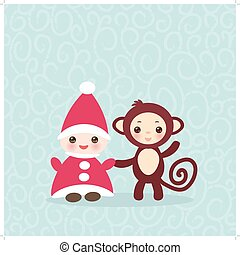 2016 Happy New Year card Funny gnome in red hat brown monkey...
