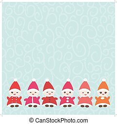 Happy New Year card for your text Funny gnomes in red hats...