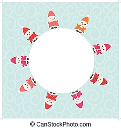 Happy New Year card for your text round frame Funny gnomes...