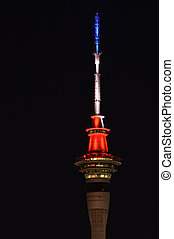 Aucklands Sky Tower Lights Up for Paris - AUCKLAND NEW...
