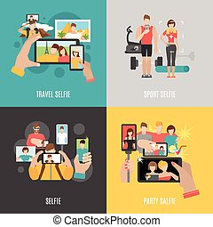 Selfies 4 flat icons square banner - Sport travel and party...