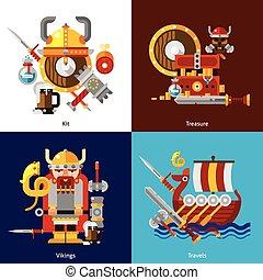 Viking Army Icons Set - Viking army icons set with kit...