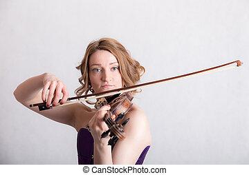 violino, mulher, tocando