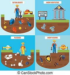 Flat Color Archeology Design Concept Set - Flat color...