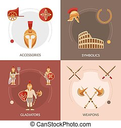 Gladiator Flat Set - Gladiator design concept set with...