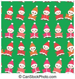 Happy New Year Funny gnomes in red hats seamless pattern on...