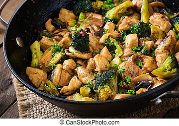Chicken with broccoli and mushrooms - Stir fry chicken with...