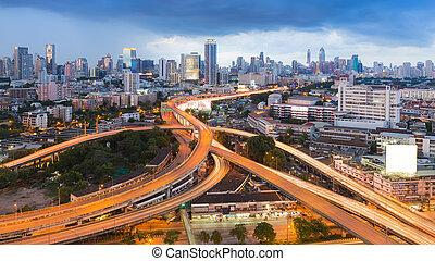 Interchange road - Aerial view of city highway interchange...