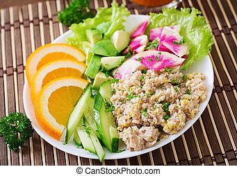Oatmeal porridge with vegetables. - Dietary menu. Breakfast....