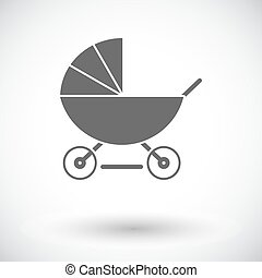 Pram flat icon - Pram icon. Flat vector related icon for web...
