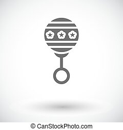 Rattle flat icon - Rattle icon. Flat vector related icon set...