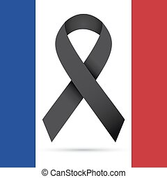 Pray for Paris, Illustration of black ribbon
