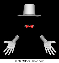 magician hat and gloves - White magician hat and gloves. On...