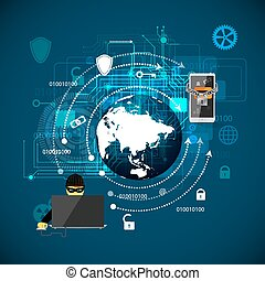 Concept of protection against hacking - Vector illustration...