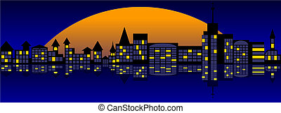 Landscape of nightly city.