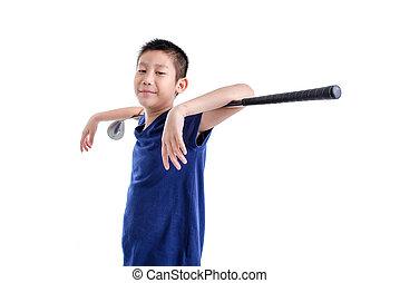 Asian Golfer boy on white. - Asian Golfer on white.