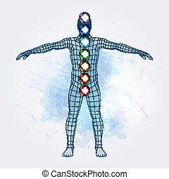 Aura and chakras - Vector illustration concept Aura and...