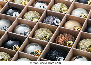 gift box with bright Christmas balls