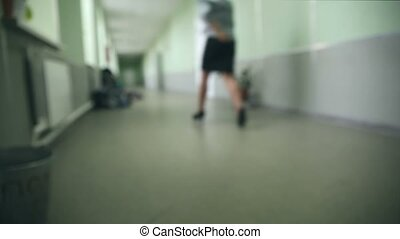teacher hurries to class runs down the hall school - teacher...