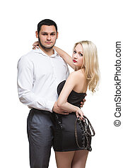 sexy couple girl holding a leash Isolated on white...