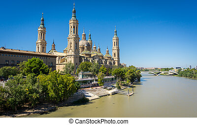 El Pilar basilica and the Ebro River, wide angle - Wide...