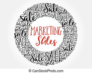 Marketing SALES circle word cloud, business concept...