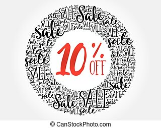 10% OFF circle word cloud, business concept background