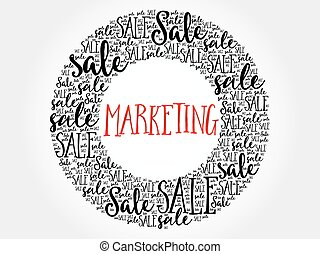 MARKETING circle word cloud, business concept background