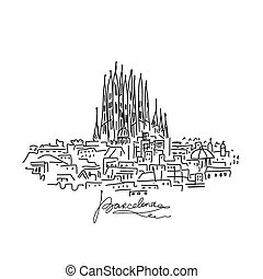 Barcelona cityscape, sketch for your design. Vector...