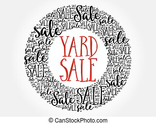 YARD SALE circle word cloud, business concept background