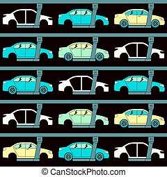Production line of cars. Seamless pattern. Color print on...