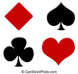 Card Suites - Four card suits on a white background, poker...