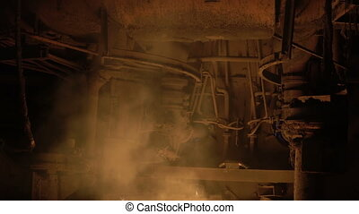 blast-furnace plant in the process of production close up
