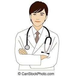 Smiling doctor with his arms crosse - A smiling doctor with...