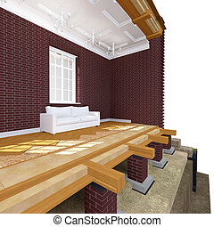 Cross section of brick house 3D architectural illustration