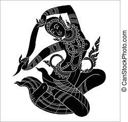 Mother of Earth or Hindu god silhouette on white black...