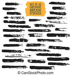 Big set of grunge brush strokes. Vector design elements for...