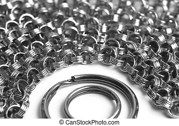 two rings surrounded by a large number of chains