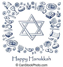 Happy Hanukkah holiday greeting background with candlestick,...