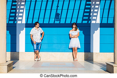 posing enamored couple - enamored man and woman posing in...