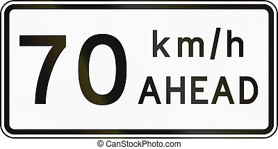 New Zealand road sign - Road works speed limit ahead, 70...
