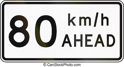 New Zealand road sign - Road works speed limit ahead, 80 kmh...
