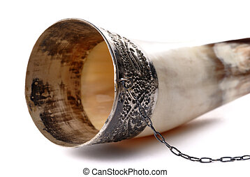 Drinking horn isolated on white
