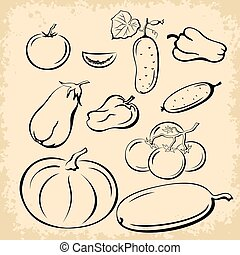 Vegetables Pictograms Set
