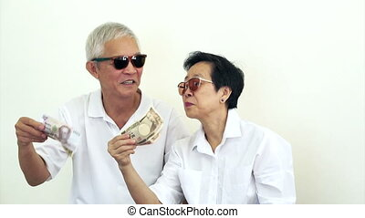 happy rich asian senior cash money - happy rich cool asian...