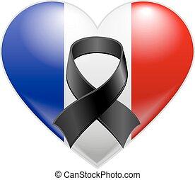 Coração, bandeira, francês