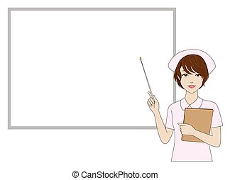 Nurse holding a pointer in front of